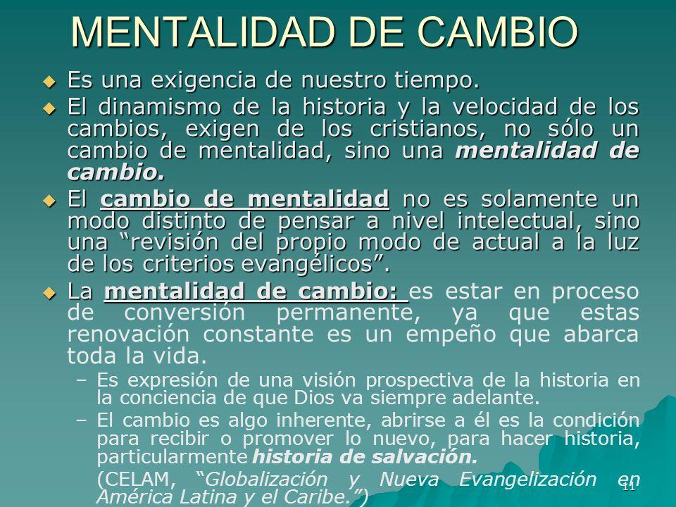 11 MENTALIDAD DE CAMBIO Es una exigencia de nuestro tiempo. Es una exigencia de nuestro tiempo. El dinamismo de la historia y la velocidad de los camb