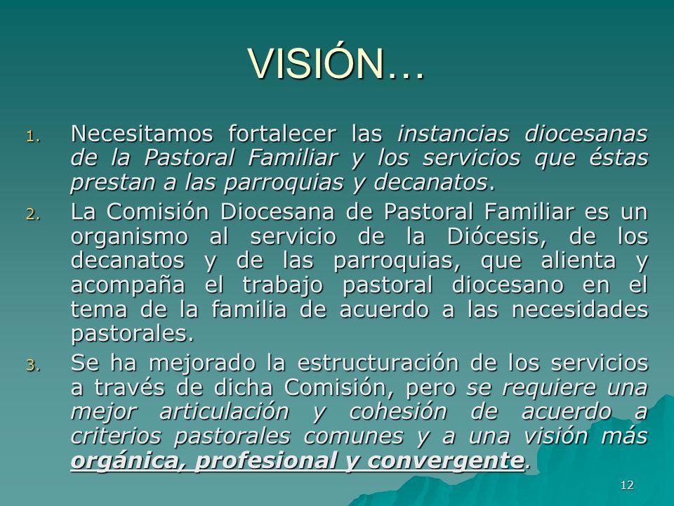 12 VISIÓN… 1. Necesitamos fortalecer las instancias diocesanas de la Pastoral Familiar y los servicios que éstas prestan a las parroquias y decanatos.