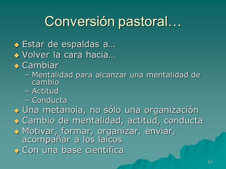 13 Conversión pastoral… Estar de espaldas a… Estar de espaldas a… Volver la cara hacia… Volver la cara hacia… Cambiar Cambiar –Mentalidad para alcanza