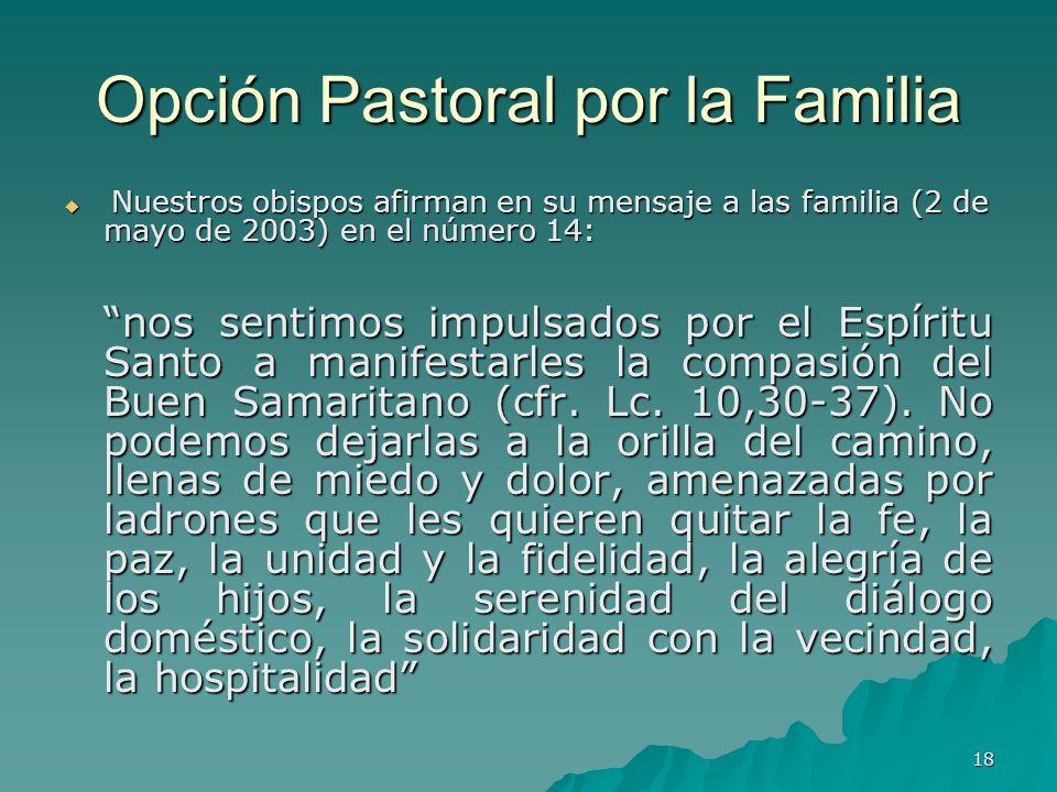 18 Opción Pastoral por la Familia Nuestros obispos afirman en su mensaje a las familia (2 de mayo de 2003) en el número 14: Nuestros obispos afirman e