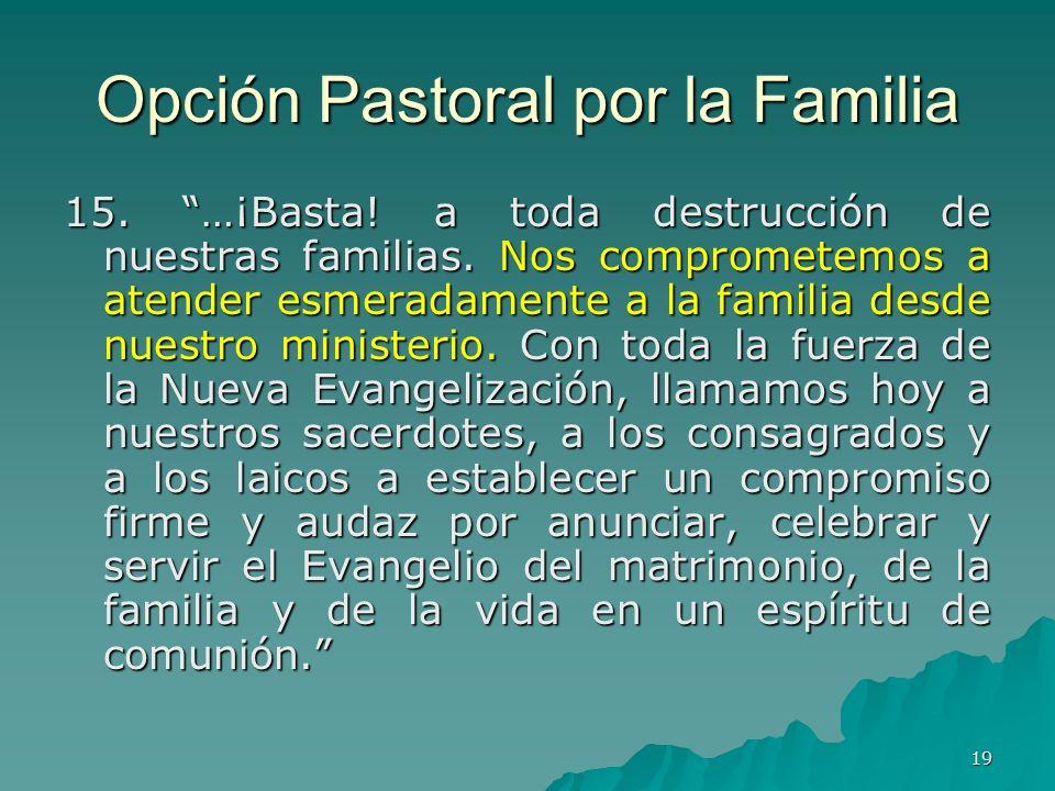 19 Opción Pastoral por la Familia 15. …¡Basta! a toda destrucción de nuestras familias. Nos comprometemos a atender esmeradamente a la familia desde n