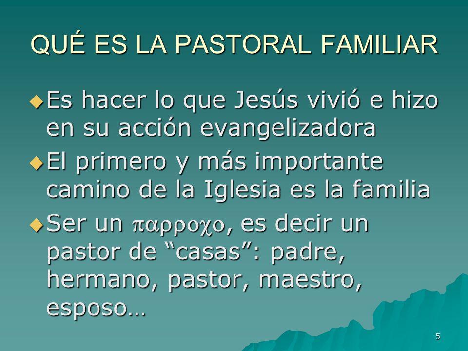 5 QUÉ ES LA PASTORAL FAMILIAR Es hacer lo que Jesús vivió e hizo en su acción evangelizadora Es hacer lo que Jesús vivió e hizo en su acción evangeliz