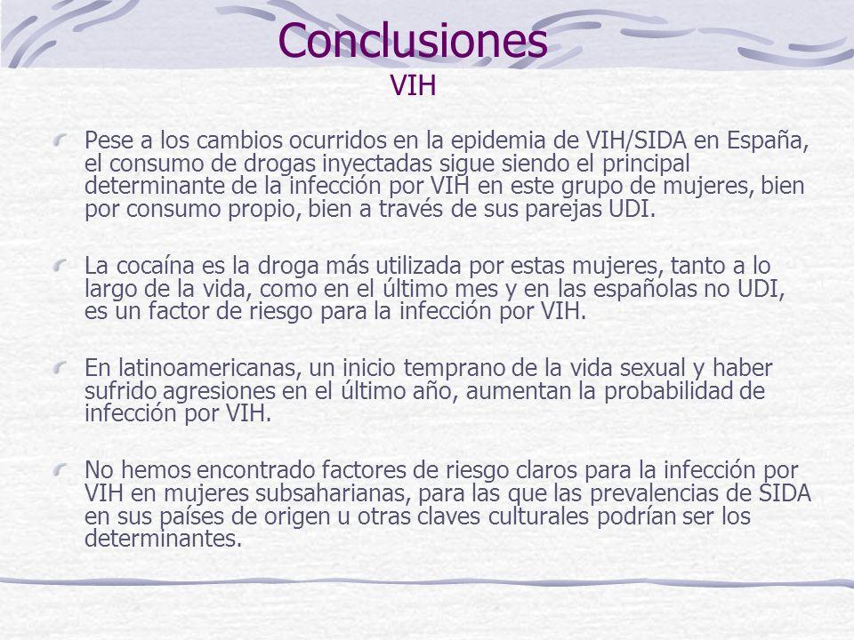 Conclusiones Salud Auto-Percibida La violencia padecida y el consumo de drogas aparecen como determinantes de riesgo universales para la mala salud auto-percibida en este grupo de mujeres.