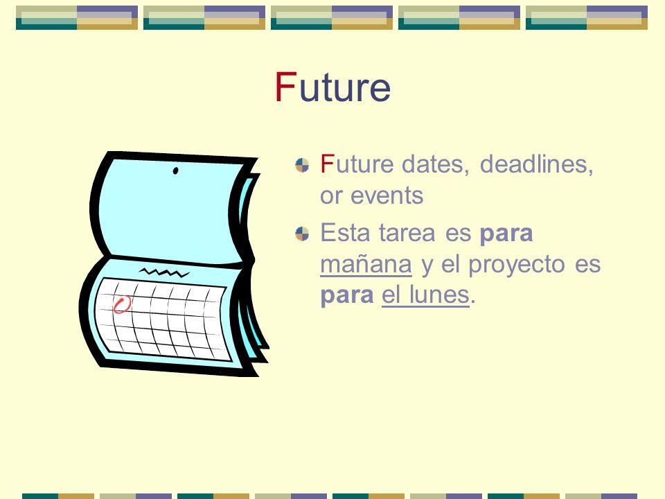 Future Future dates, deadlines, or events Esta tarea es para mañana y el proyecto es para el lunes.