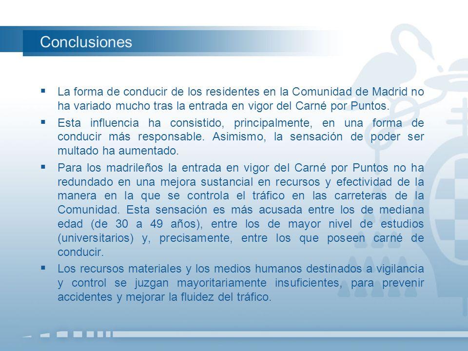 La forma de conducir de los residentes en la Comunidad de Madrid no ha variado mucho tras la entrada en vigor del Carné por Puntos. Esta influencia ha
