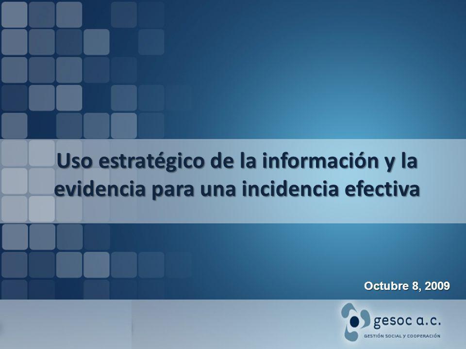 Uso estratégico de la información y la evidencia para una incidencia efectiva Octubre 8, 2009