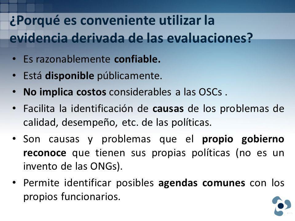 ¿Porqué es conveniente utilizar la evidencia derivada de las evaluaciones.