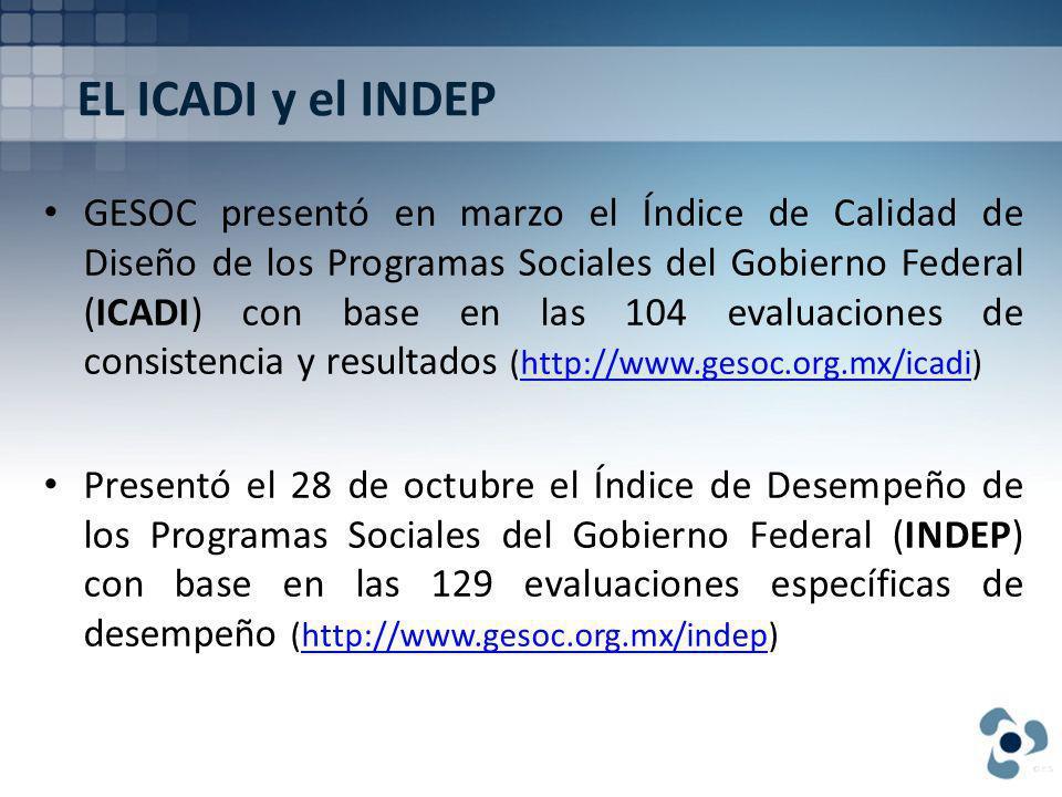 EL ICADI y el INDEP GESOC presentó en marzo el Índice de Calidad de Diseño de los Programas Sociales del Gobierno Federal (ICADI) con base en las 104 evaluaciones de consistencia y resultados (http://www.gesoc.org.mx/icadi)http://www.gesoc.org.mx/icadi Presentó el 28 de octubre el Índice de Desempeño de los Programas Sociales del Gobierno Federal (INDEP) con base en las 129 evaluaciones específicas de desempeño (http://www.gesoc.org.mx/indep)http://www.gesoc.org.mx/indep