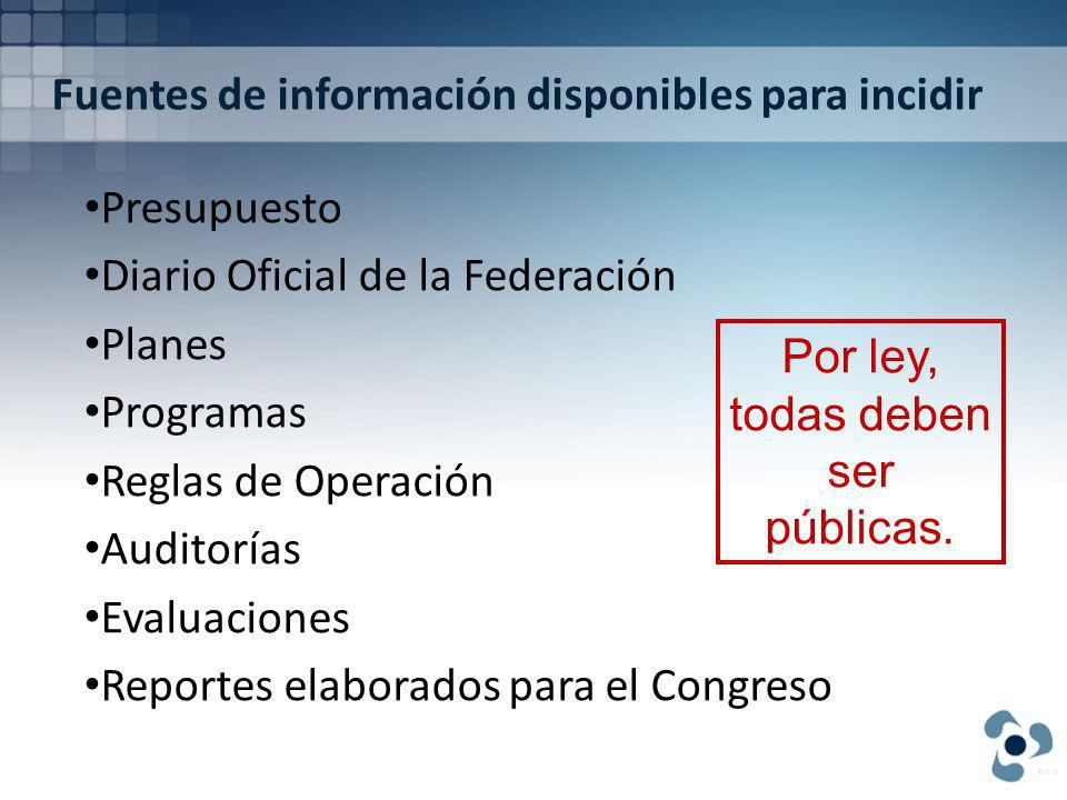 Fuentes de información disponibles para incidir Presupuesto Diario Oficial de la Federación Planes Programas Reglas de Operación Auditorías Evaluaciones Reportes elaborados para el Congreso Por ley, todas deben ser públicas.