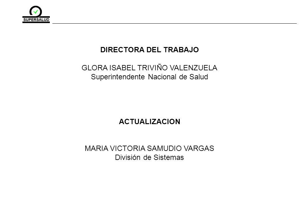 DIRECTORA DEL TRABAJO GLORA ISABEL TRIVIÑO VALENZUELA Superintendente Nacional de Salud ACTUALIZACION MARIA VICTORIA SAMUDIO VARGAS División de Sistemas