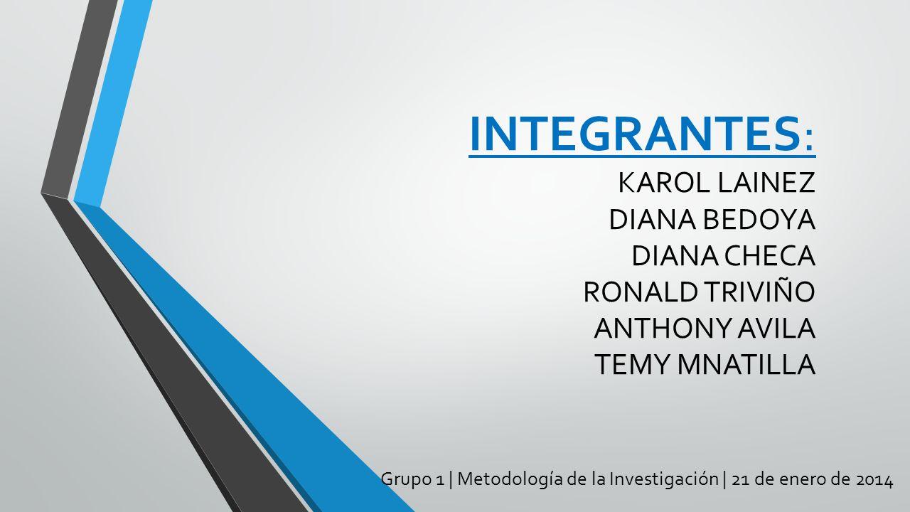 Grupo 1 | Metodología de la Investigación | 21 de enero de 2014 INTEGRANTES: KAROL LAINEZ DIANA BEDOYA DIANA CHECA RONALD TRIVIÑO ANTHONY AVILA TEMY M