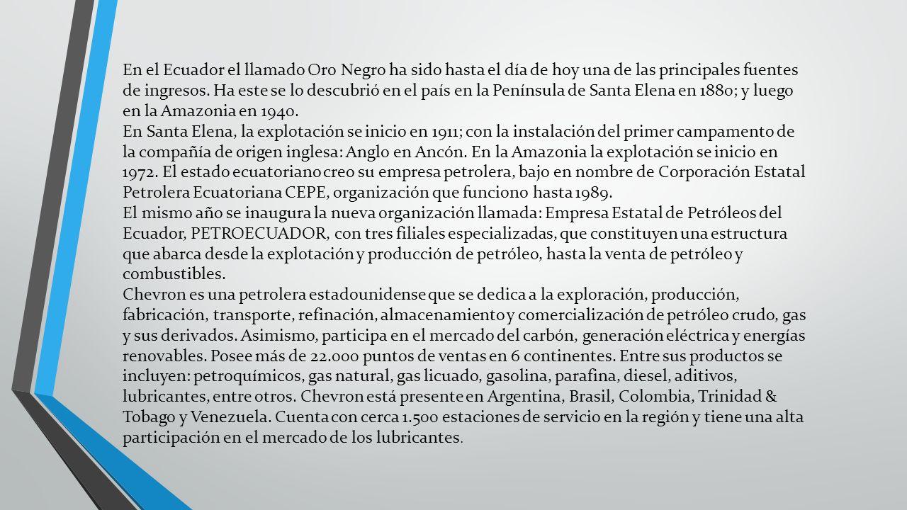 En el Ecuador el llamado Oro Negro ha sido hasta el día de hoy una de las principales fuentes de ingresos. Ha este se lo descubrió en el país en la Pe