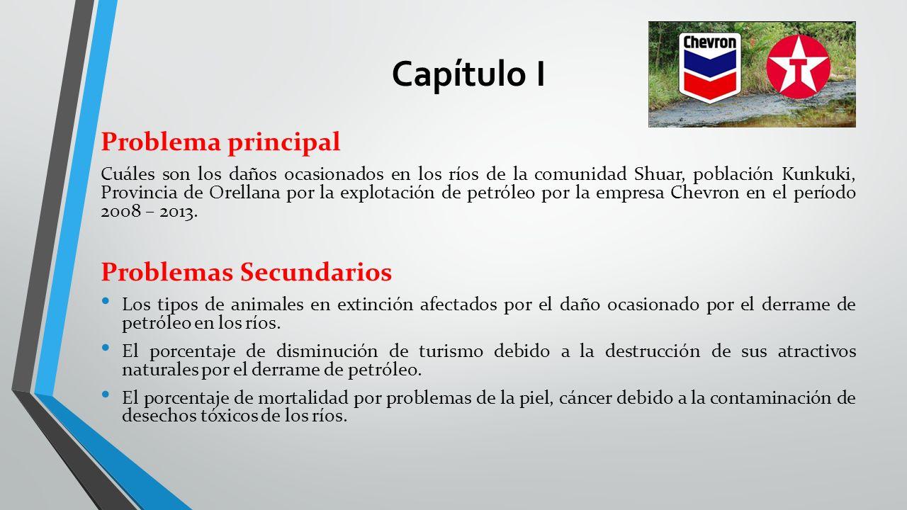 Capítulo I Problema principal Cuáles son los daños ocasionados en los ríos de la comunidad Shuar, población Kunkuki, Provincia de Orellana por la expl