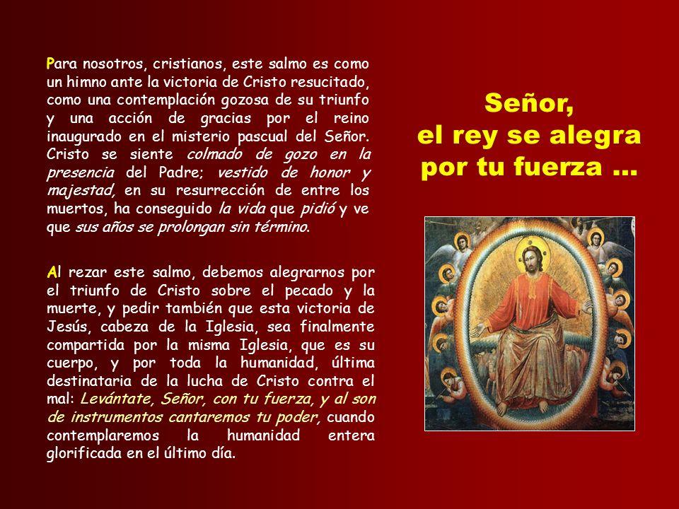 Este canto litúrgico de acción de gracias está estrechamente vinculado con el Salmo 19: la súplica del pueblo antes de la batalla ha sido escuchada, y