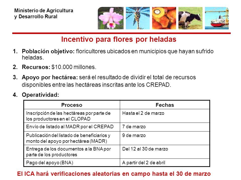 Ministerio de Agricultura y Desarrollo Rural Incentivo para flores por heladas 1.Población objetivo: floricultores ubicados en municipios que hayan sufrido heladas.