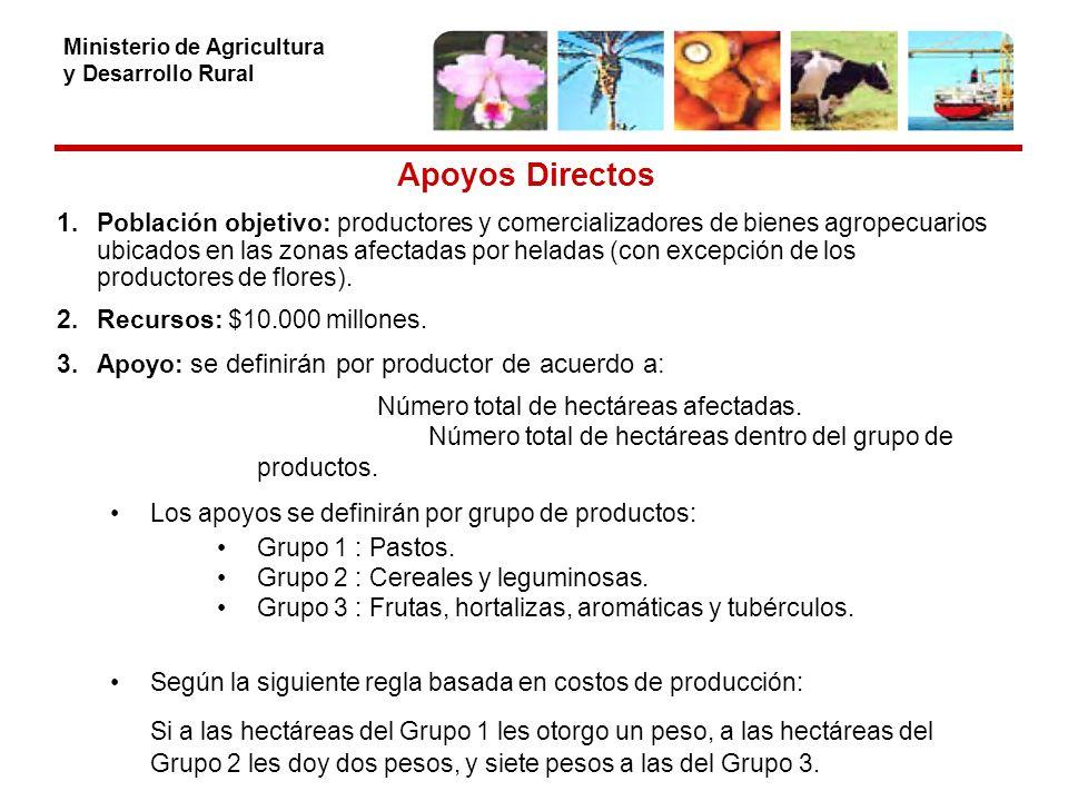 Ministerio de Agricultura y Desarrollo Rural Apoyos Directos 1.Población objetivo: productores y comercializadores de bienes agropecuarios ubicados en las zonas afectadas por heladas (con excepción de los productores de flores).