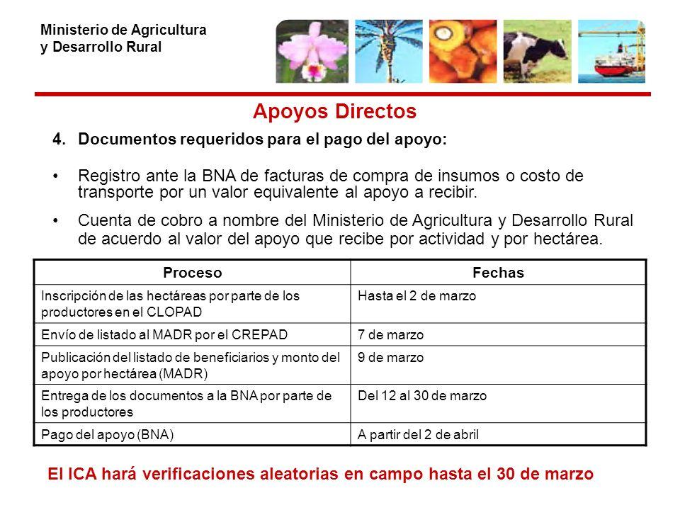 Ministerio de Agricultura y Desarrollo Rural Apoyos Directos 4.Documentos requeridos para el pago del apoyo: Registro ante la BNA de facturas de compra de insumos o costo de transporte por un valor equivalente al apoyo a recibir.