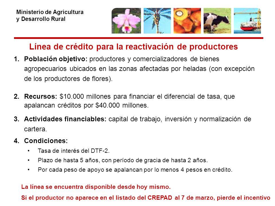 Ministerio de Agricultura y Desarrollo Rural Línea de crédito para la reactivación de productores 1.Población objetivo: productores y comercializadores de bienes agropecuarios ubicados en las zonas afectadas por heladas (con excepción de los productores de flores).