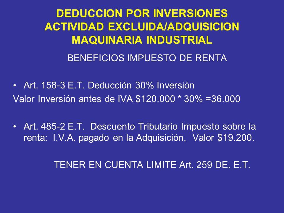BENEFICIOS IMPUESTO DE RENTA Art. 158-3 E.T.