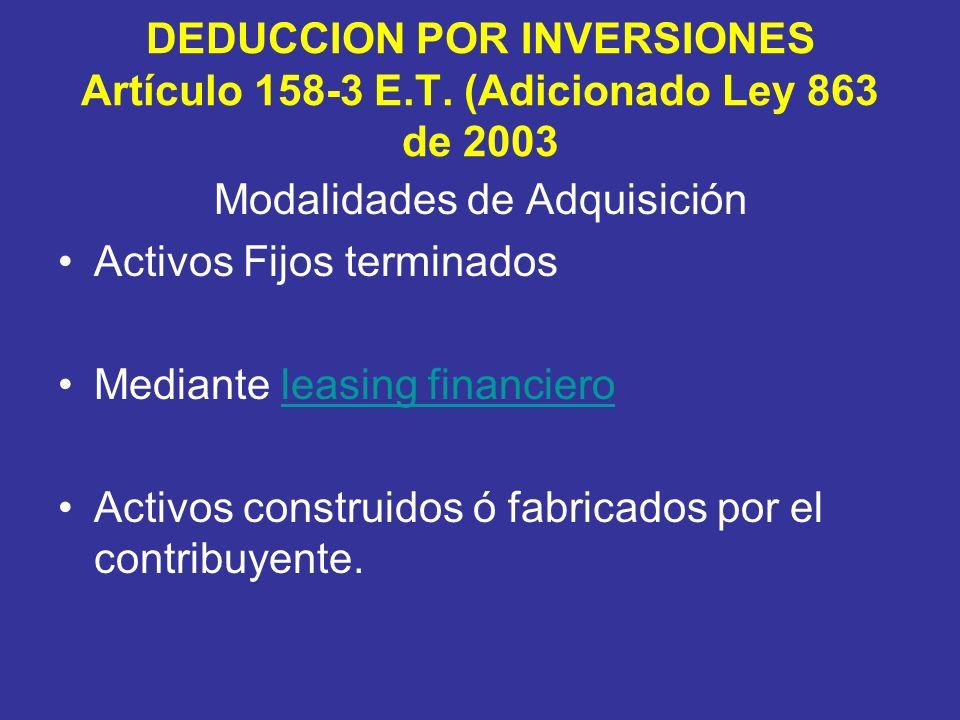DEDUCCION POR INVERSIONES Artículo 158-3 E.T.