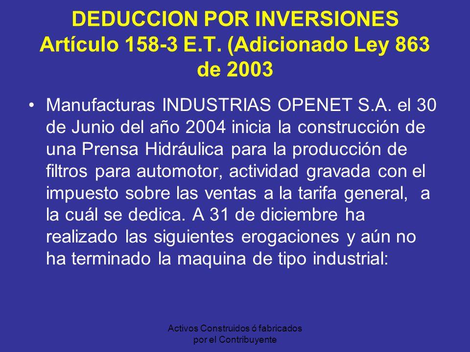 Activos Construidos ó fabricados por el Contribuyente DEDUCCION POR INVERSIONES Artículo 158-3 E.T.
