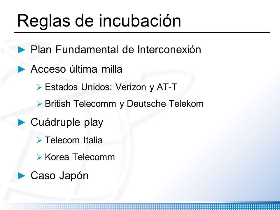 Reglas de incubación Plan Fundamental de Interconexión Acceso última milla Estados Unidos: Verizon y AT-T British Telecomm y Deutsche Telekom Cuádrupl