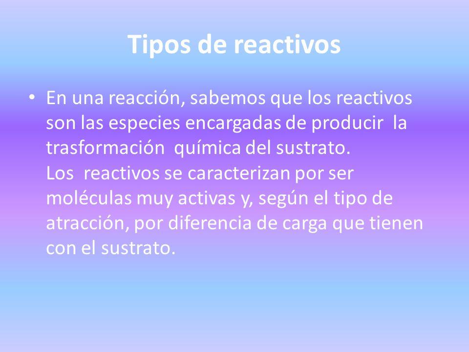 Tipos de reactivos En una reacción, sabemos que los reactivos son las especies encargadas de producir la trasformación química del sustrato. Los react