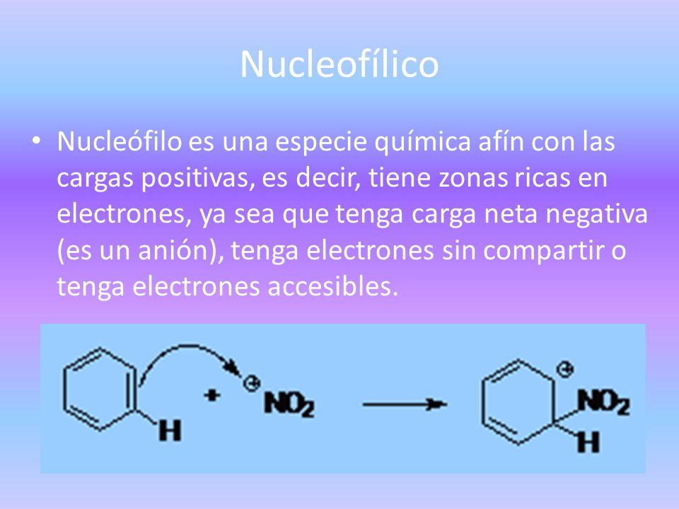 Nucleofílico Nucleófilo es una especie química afín con las cargas positivas, es decir, tiene zonas ricas en electrones, ya sea que tenga carga neta n
