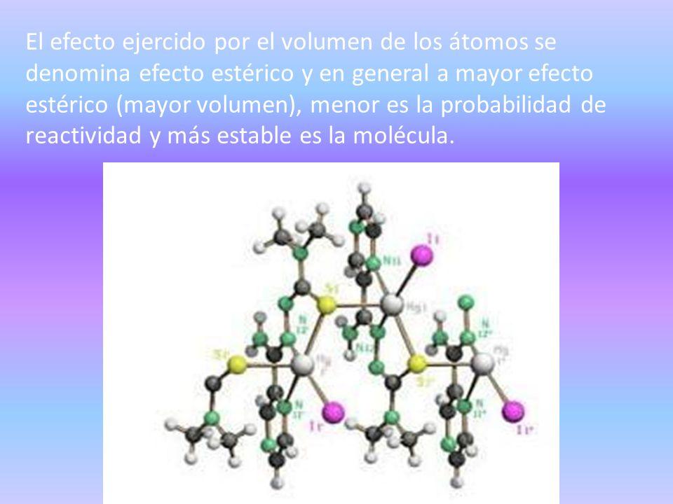 El efecto ejercido por el volumen de los átomos se denomina efecto estérico y en general a mayor efecto estérico (mayor volumen), menor es la probabil