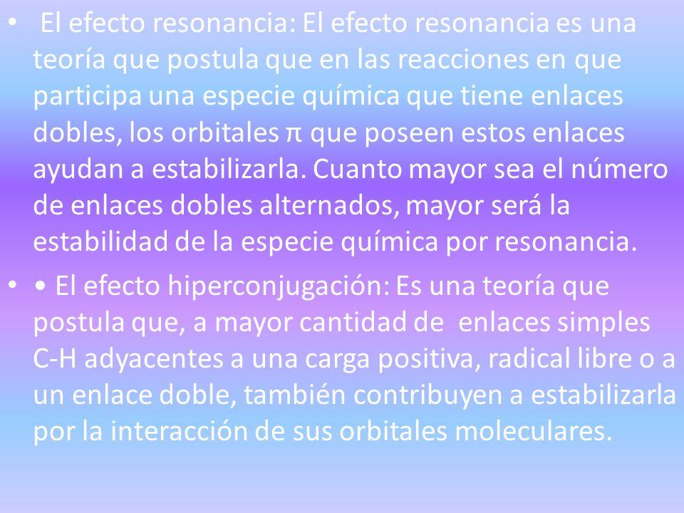 El efecto resonancia: El efecto resonancia es una teoría que postula que en las reacciones en que participa una especie química que tiene enlaces dobl