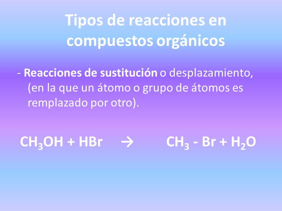 Tipos de reacciones en compuestos orgánicos - Reacciones de sustitución o desplazamiento, (en la que un átomo o grupo de átomos es remplazado por otro