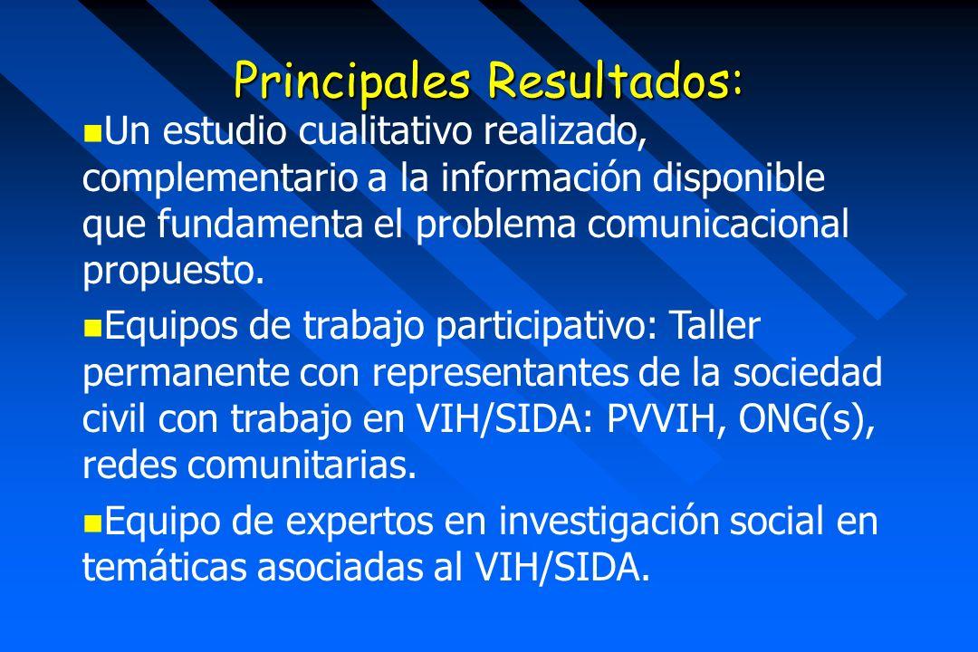 Principales Resultados: Un estudio cualitativo realizado, complementario a la información disponible que fundamenta el problema comunicacional propuesto.