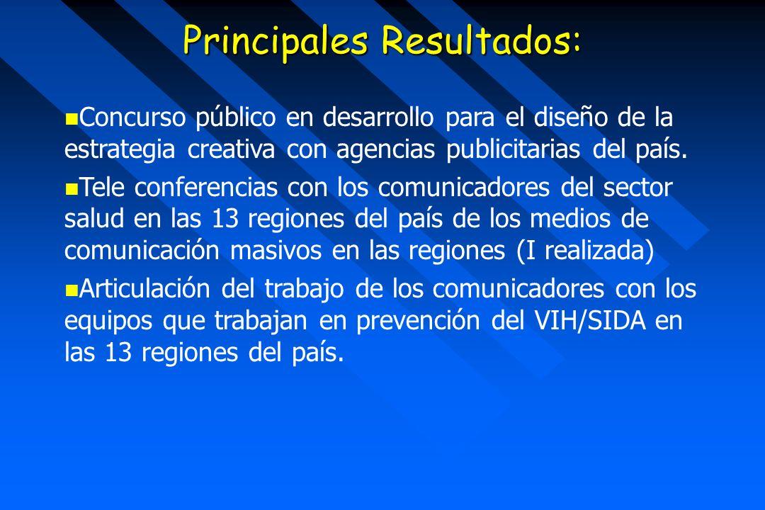 Principales Resultados: Concurso público en desarrollo para el diseño de la estrategia creativa con agencias publicitarias del país. Tele conferencias
