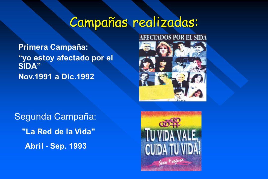 Campañas realizadas: Primera Campaña: yo estoy afectado por el SIDA Nov.1991 a Dic.1992 Segunda Campaña: