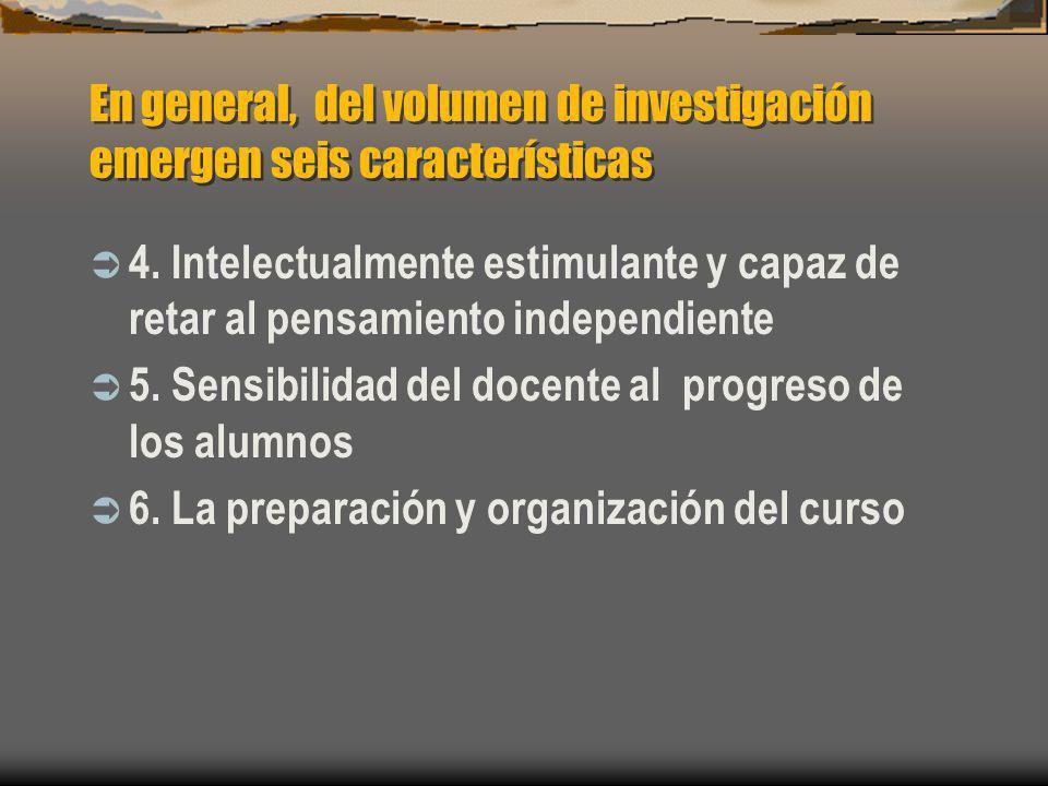 En general, del volumen de investigación emergen seis características 4. Intelectualmente estimulante y capaz de retar al pensamiento independiente 5.