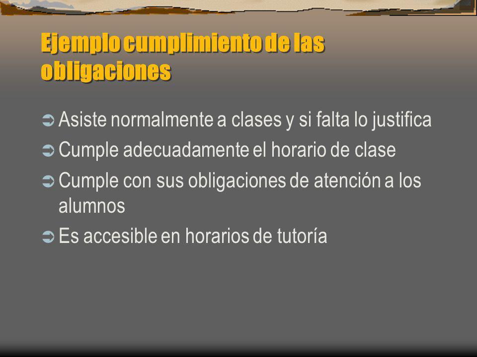 Ejemplo cumplimiento de las obligaciones Asiste normalmente a clases y si falta lo justifica Cumple adecuadamente el horario de clase Cumple con sus o
