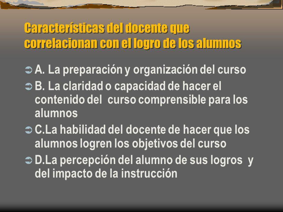 Características del docente que correlacionan con el logro de los alumnos A. La preparación y organización del curso B. La claridad o capacidad de hac