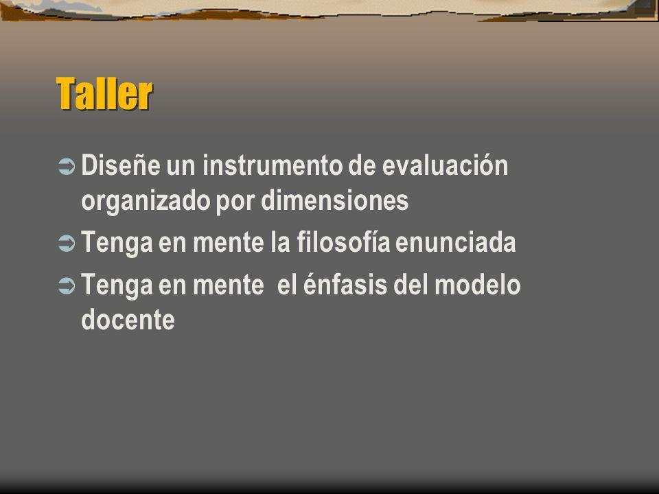 Taller Diseñe un instrumento de evaluación organizado por dimensiones Tenga en mente la filosofía enunciada Tenga en mente el énfasis del modelo docen