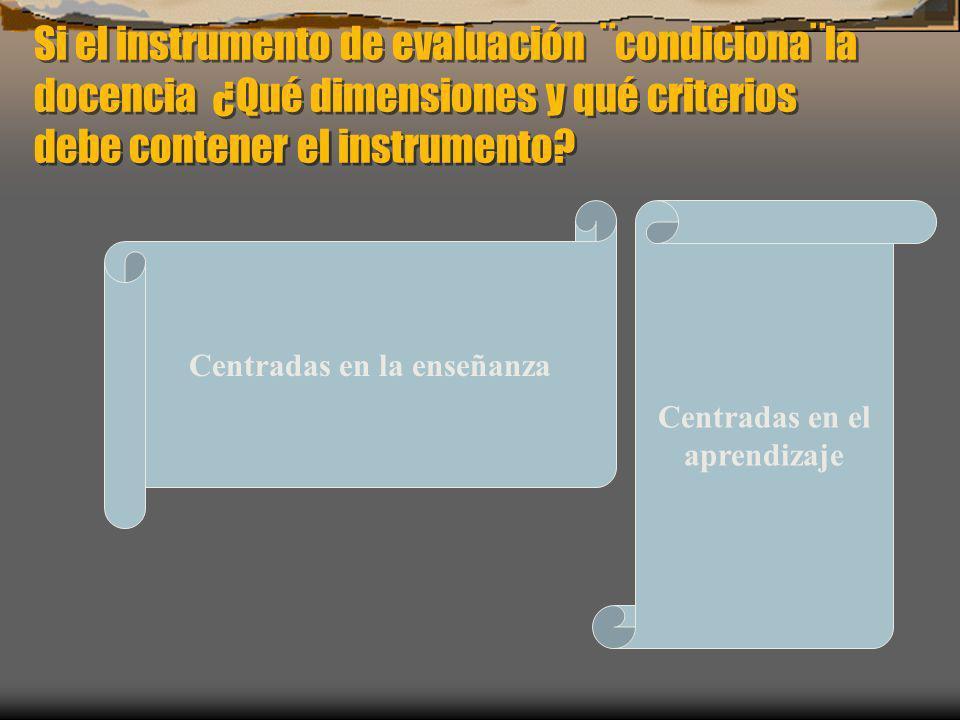 Si el instrumento de evaluación ¨condiciona¨la docencia ¿Qué dimensiones y qué criterios debe contener el instrumento? Centradas en la enseñanza Centr