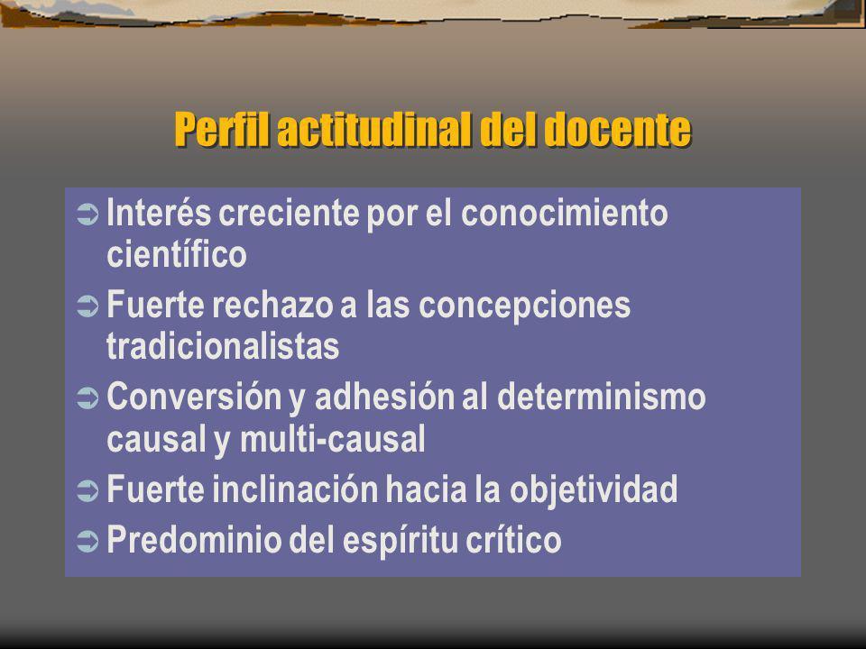Perfil actitudinal del docente Interés creciente por el conocimiento científico Fuerte rechazo a las concepciones tradicionalistas Conversión y adhesi
