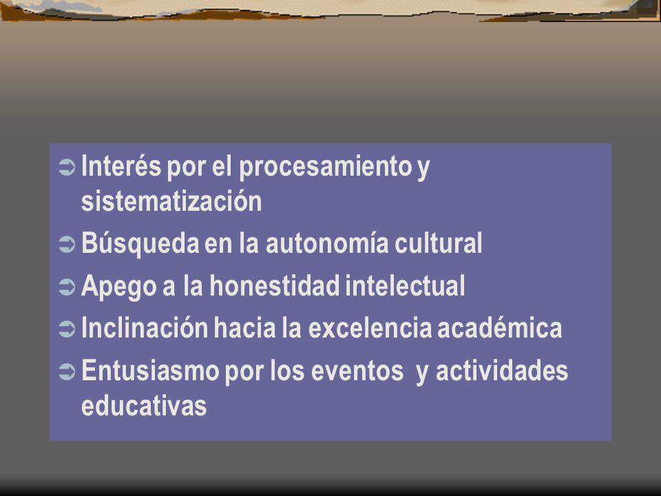 Interés por el procesamiento y sistematización Búsqueda en la autonomía cultural Apego a la honestidad intelectual Inclinación hacia la excelencia aca