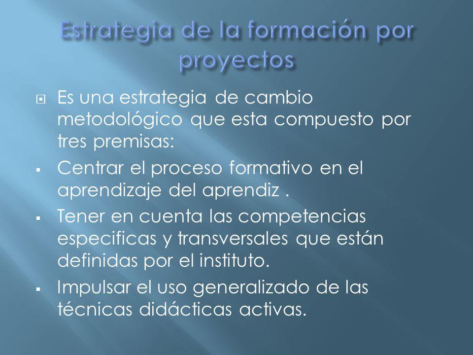 La Formación por Proyectos, utiliza diferentes Técnicas Didácticas Activas (Método de Proyectos, Estudio de Casos, Análisis de Objetos…), teniendo cada una de estas Técnicas su propia estructura y dinámica de desarrollo desde el punto de vista formativo.