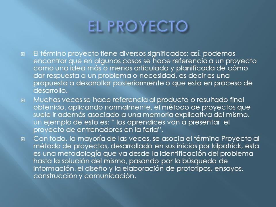 El término proyecto tiene diversos significados; así, podemos encontrar que en algunos casos se hace referencia a un proyecto como una idea más o meno