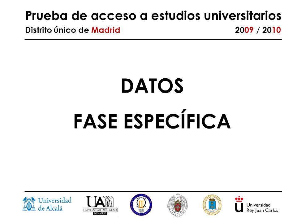 Prueba de acceso a estudios universitarios Distrito único de Madrid 2009 / 2010 DATOS FASE ESPECÍFICA