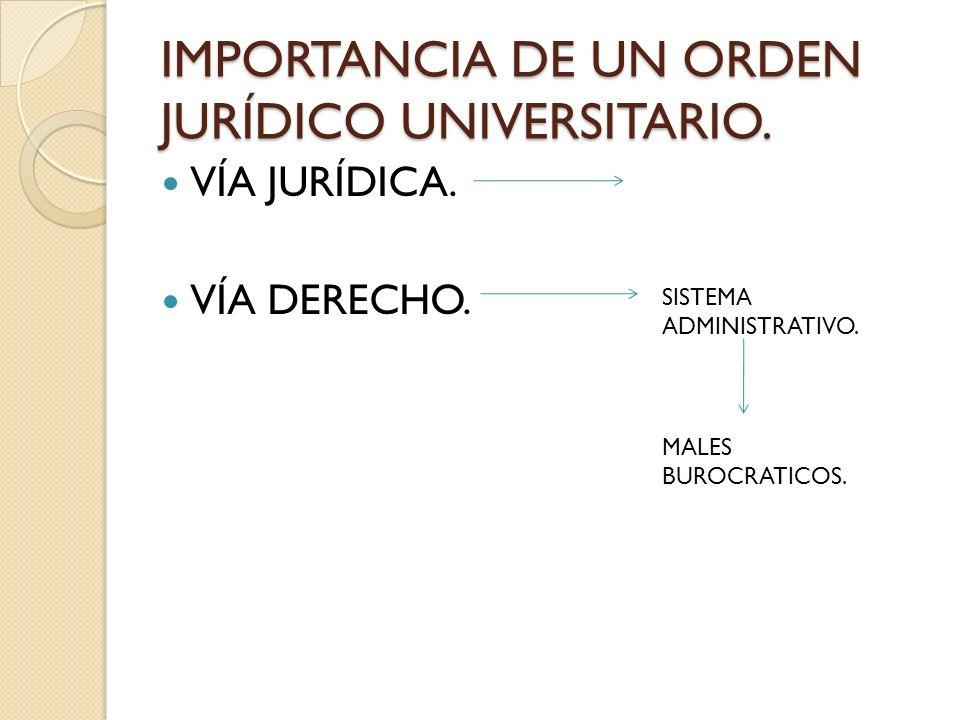 VÍA JURÍDICA. VÍA DERECHO. ORDEN JURÍDICO UNIVERSITARIO. 1.- SEGURIDAD Y CERTEZA JURÍDICA.
