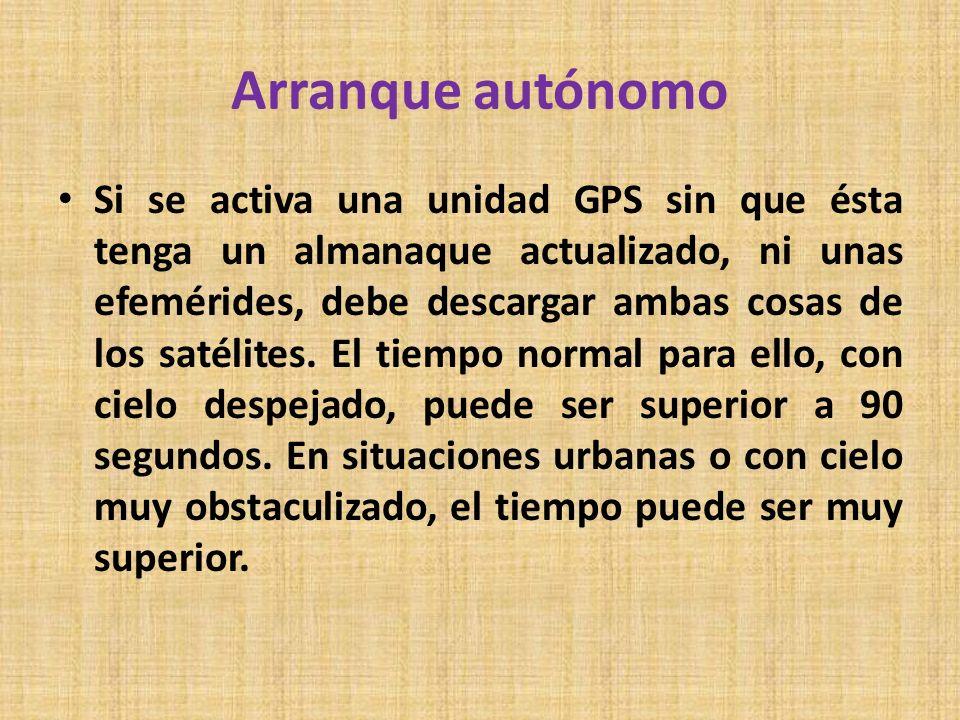 Arranque autónomo Si se activa una unidad GPS sin que ésta tenga un almanaque actualizado, ni unas efemérides, debe descargar ambas cosas de los satél