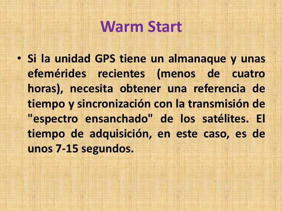Warm Start Si la unidad GPS tiene un almanaque y unas efemérides recientes (menos de cuatro horas), necesita obtener una referencia de tiempo y sincro