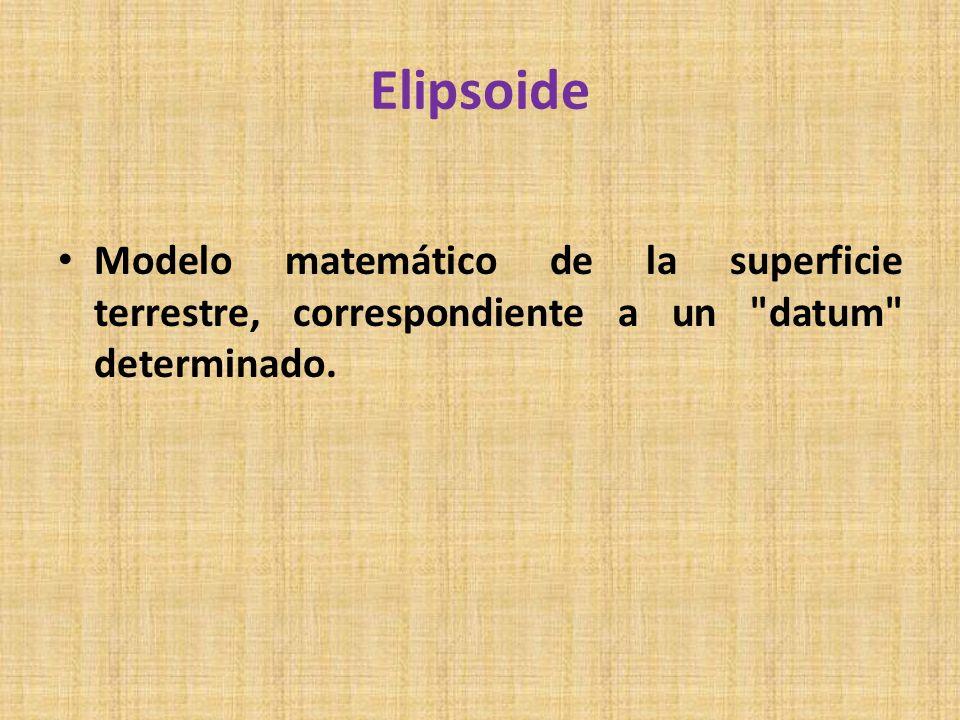 Elipsoide Modelo matemático de la superficie terrestre, correspondiente a un