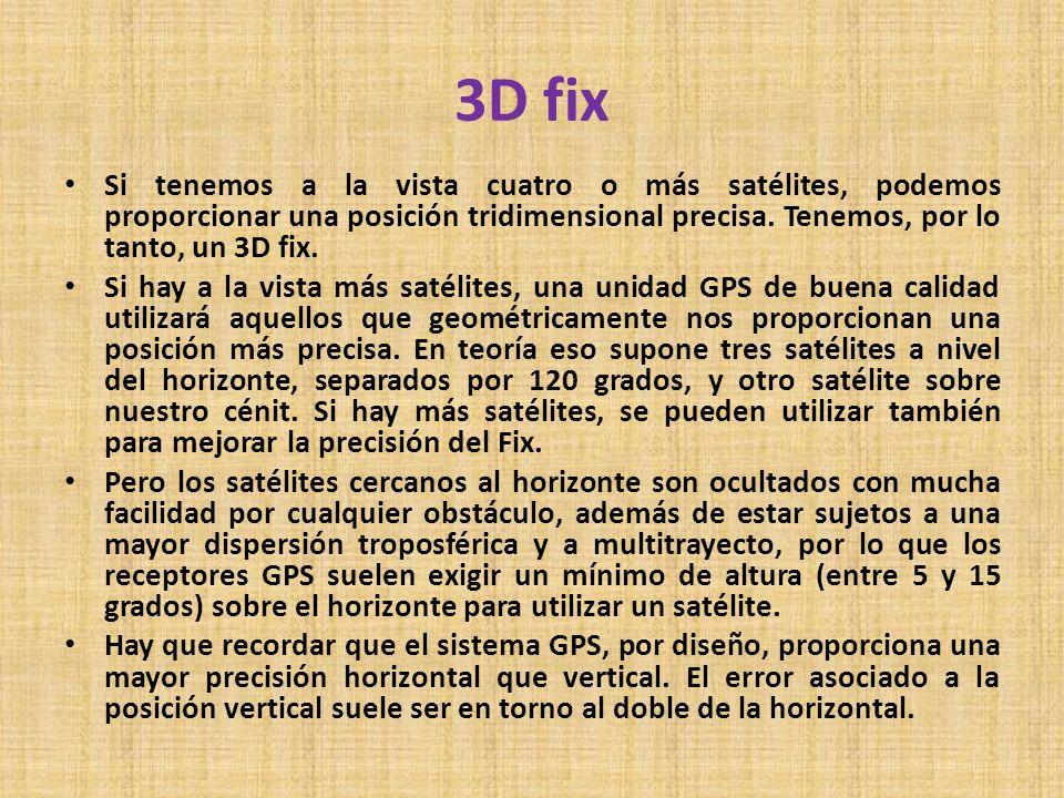 3D fix Si tenemos a la vista cuatro o más satélites, podemos proporcionar una posición tridimensional precisa. Tenemos, por lo tanto, un 3D fix. Si ha