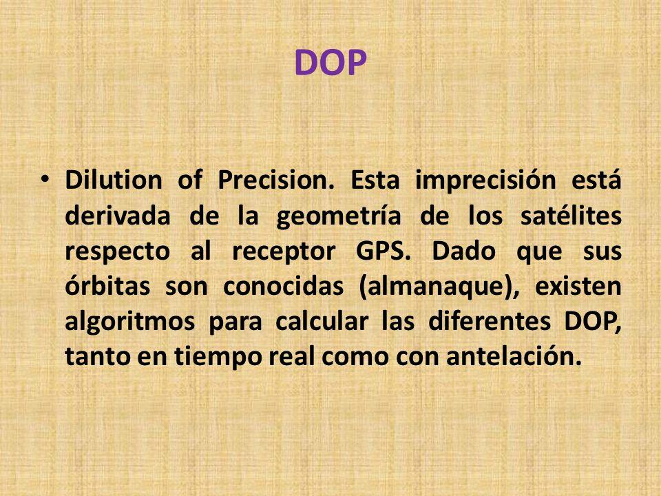 DOP Dilution of Precision. Esta imprecisión está derivada de la geometría de los satélites respecto al receptor GPS. Dado que sus órbitas son conocida
